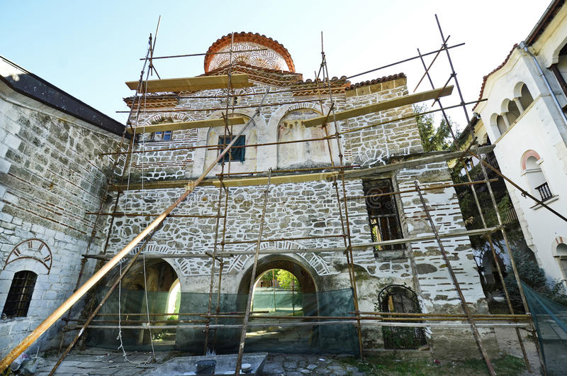 Bulgaria, Bachkovo. Bulgaria, renovation works in Bachkovo monastery, landmark and pilgrimage site royalty free stock photography