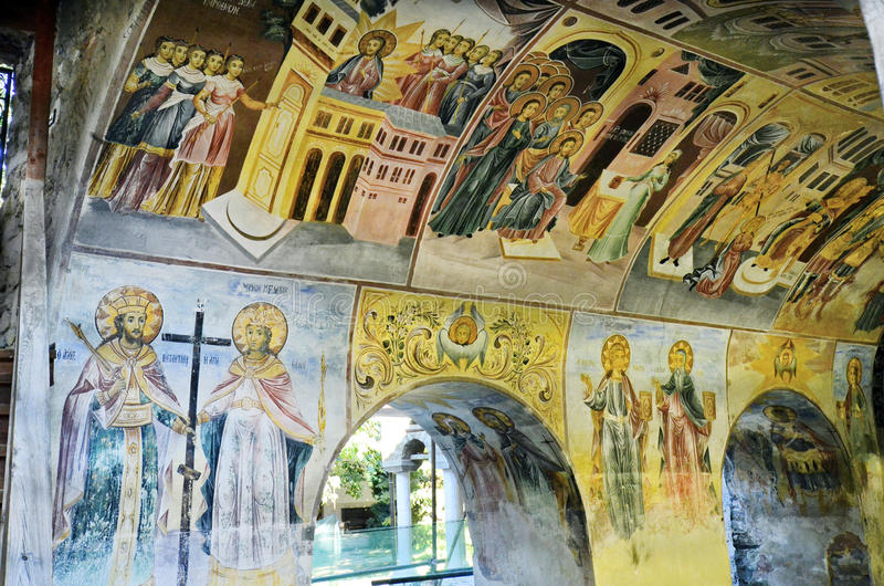 Bulgaria, Bachkovo. Bulgaria, wall paintings in Bachkovo monastery, landmark and pilgrimage site royalty free stock photography