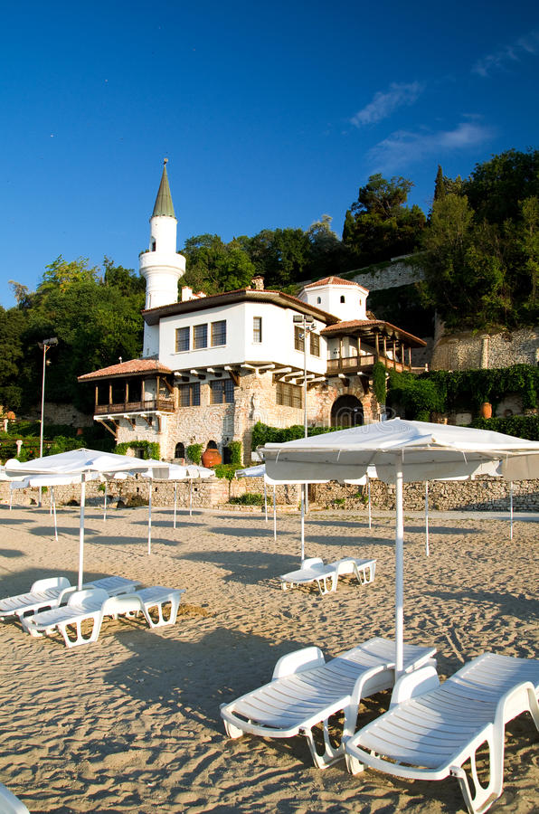 Bulgaria - Balchik. Located in the Bulgarian Black Sea town of Balchik, the Quiet Nest Palace, was constructed between 1926 and 1937, during the Romanian control stock image