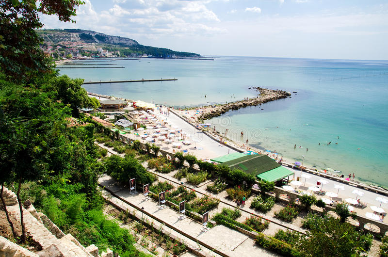 Bulgaria - Balchik. The town and beach of the Bulgarian Black Sea town of Balchik seen from the Quiet Nest Palace. The palace was constructed between 1926 and royalty free stock image