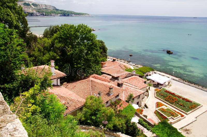 Bulgaria - Balchik. The Black Sea seen from the seaside resort of Balchik. Famous for the Quiet Nest Palace of Queen Marie of Romania, Balchik is an idyllic town stock images