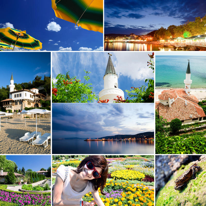 Bulgaria - Balchik. Balchik, Bulgaria themed touristic collage royalty free stock images