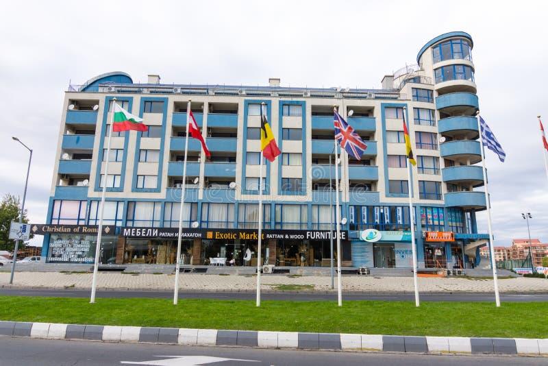 Bulgaria: blue Hotel in Sunny Beach royalty free stock image