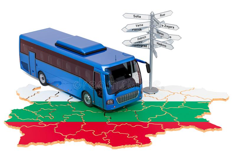 Bulgaria Bus Tours concept. 3D rendering. Isolated on white background vector illustration
