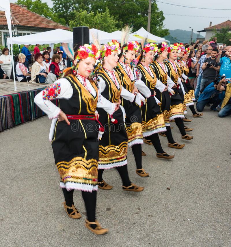 Bulgaria. Colorful female dance on Nestenar games in the village of Bulgarians royalty free stock photography