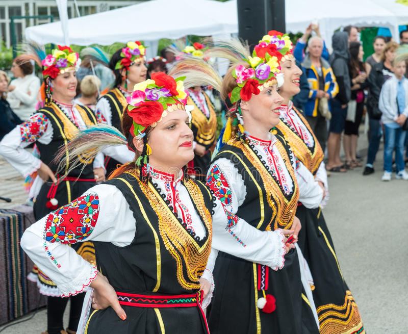 Bulgaria. Dancing Bulgarian women in festive national costumes at the Nestinar Games in the village of Bulgarians stock photography