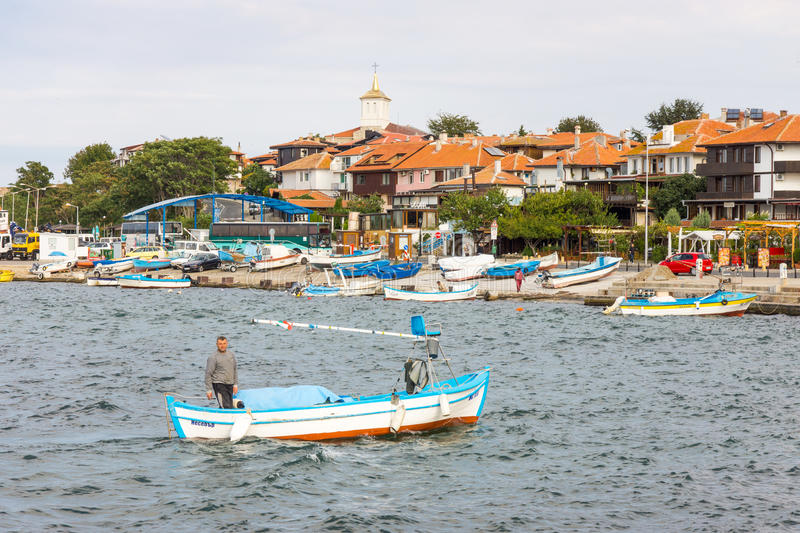 Bulgaria: Fishing boat in the Bay of Nessebar royalty free stock images