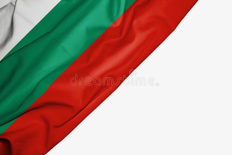 Bulgaria flag of fabric with copyspace for your text on white background. Banner best bulgarian capital colorful competition country ensign europe free freedom vector illustration