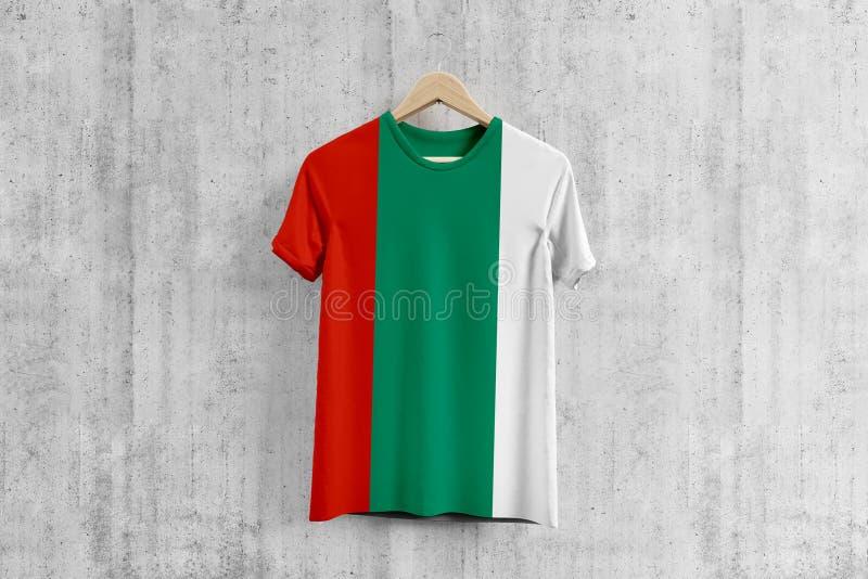 Bulgaria flag T-shirt on hanger, Bulgarian team uniform design idea for garment production. National wear royalty free illustration