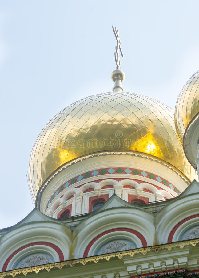 Bulgaria. Gold crosses and domes stock photo