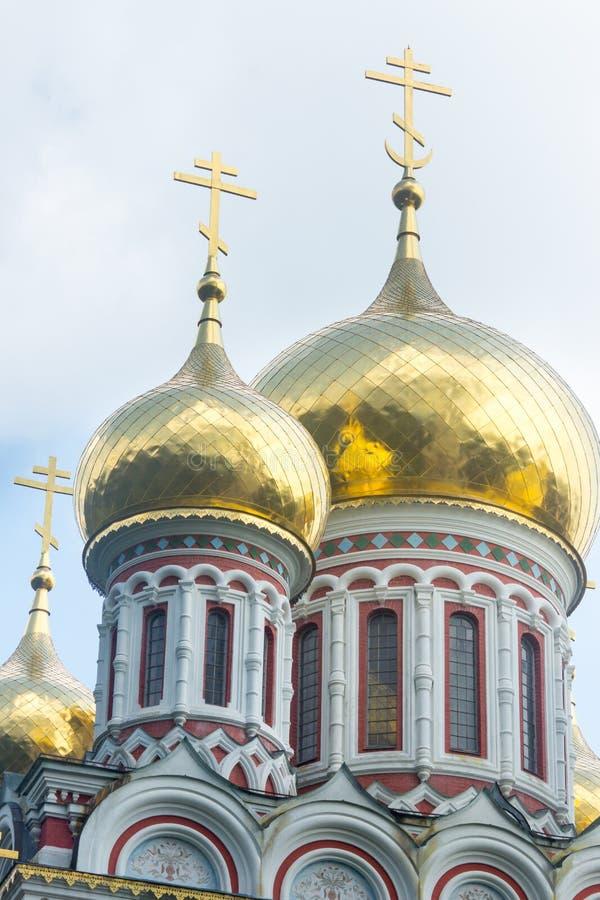 Bulgaria. Golden domes of the Shipka Monastery stock photo