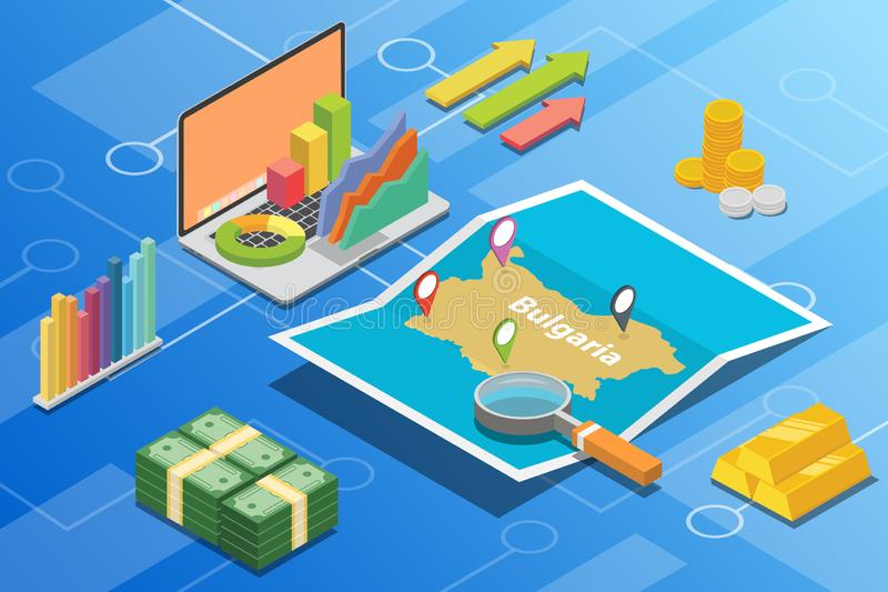 Bulgaria isometric business economy growth country with map and finance condition - vector. Illustration royalty free illustration