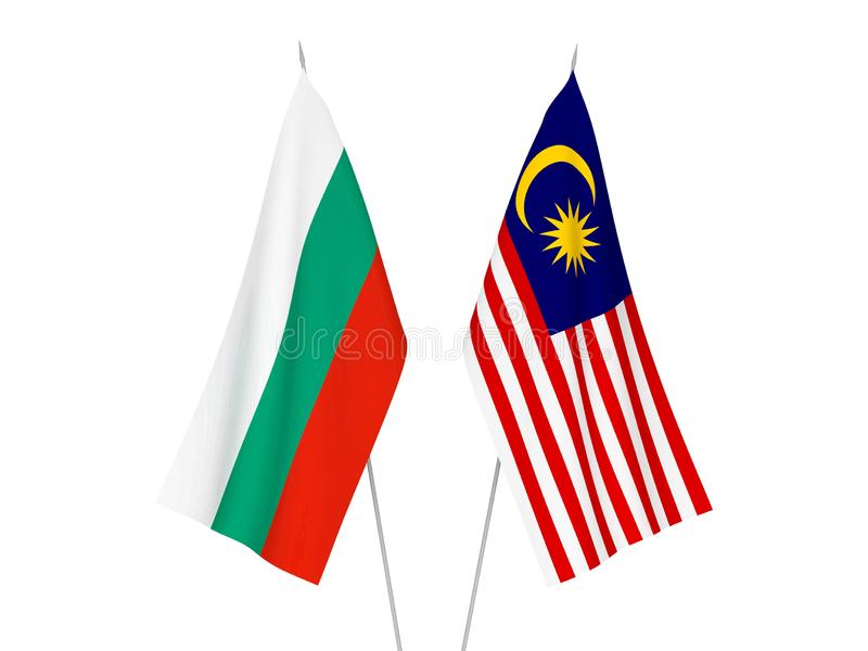 Bulgaria and Malaysia flags. National fabric flags of Bulgaria and Malaysia isolated on white background. 3d rendering illustration vector illustration