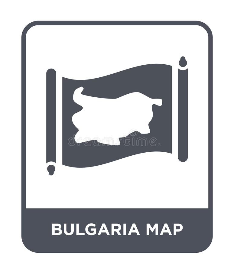 Bulgaria map icon in trendy design style. bulgaria map icon isolated on white background. bulgaria map vector icon simple and. Modern flat symbol for web site stock illustration
