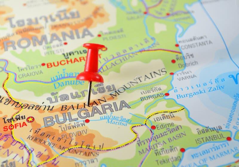 Bulgaria map. Macro shot of bulgaria map with push pin royalty free stock photo