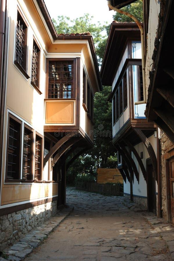 bulgaria medeltida gammal plovdiv gata royaltyfria bilder