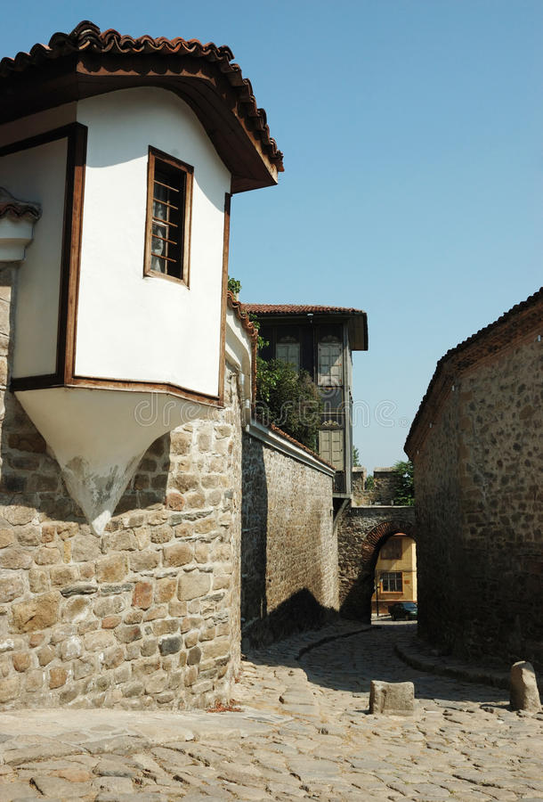 bulgaria medeltida gammal plovdiv gata arkivfoto