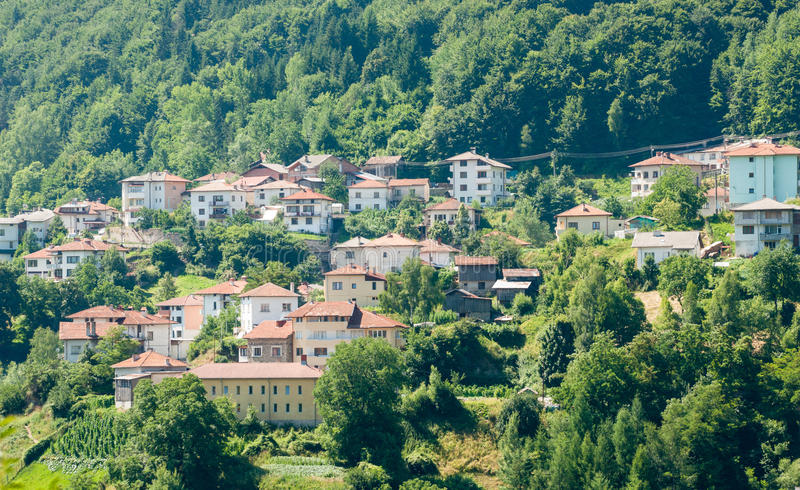 Bulgaria. New Smolyan - the town in the woods royalty free stock image