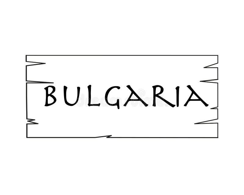 Bulgaria, Nombre De País Escrito En El Fondo Blanco, Marco De Madera ...