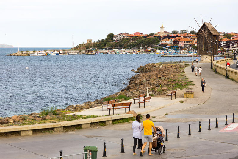 Bulgaria: Pedestrian promenade in the old town of Nessebar stock photography