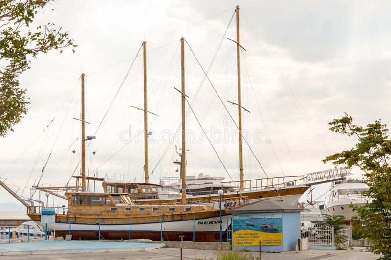Bulgaria: The pleasure yacht at the dock in Nessebar stock photography