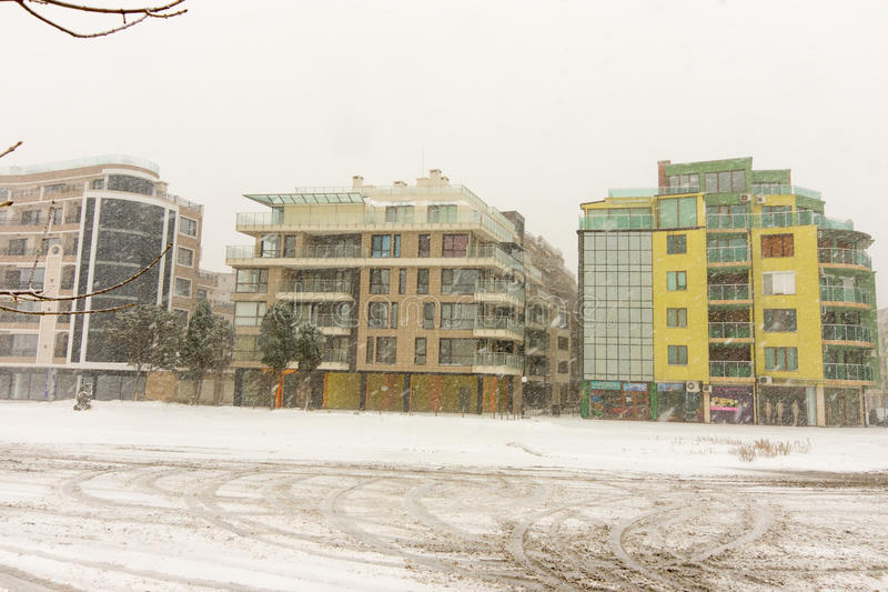 Bulgaria: Pomorie buildings, on 31 december royalty free stock images