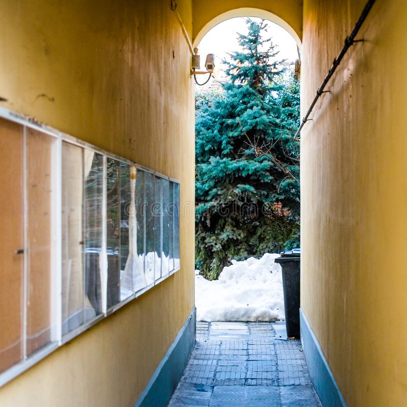 Bulgaria, Ruse, arco del invierno foto de archivo libre de regalías