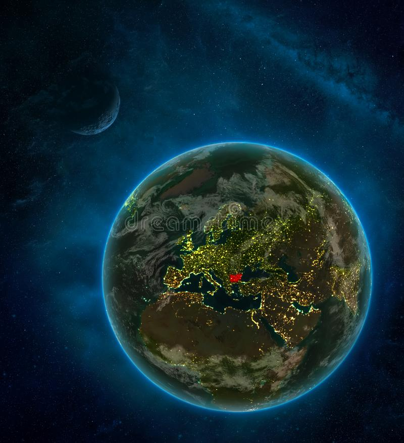 Bulgaria from space on Earth at night surrounded by space with Moon and Milky Way. Detailed planet with city lights and clouds. 3D. Illustration. Elements of vector illustration