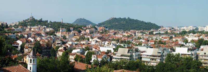 bulgaria stara panoramy Plovdiv linia horyzontu zdjęcie stock