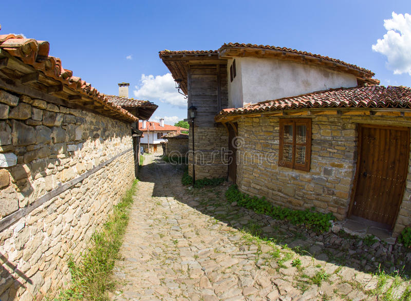 Bulgaria. Street in the mountain village stock images