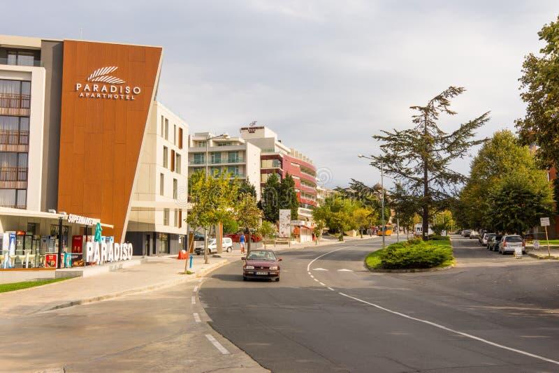 Bulgaria: The street in new Nessebar stock photos