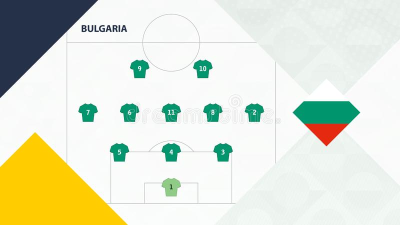 Bulgaria team preferred system formation 3-5-2, Bulgaria football team background for European soccer competition.  royalty free illustration