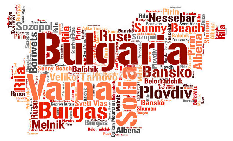 Bulgaria top travel destinations word cloud. Bulgaria Map silhouette word cloud with most popular travel destinations royalty free illustration