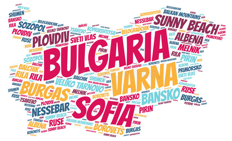 Bulgaria top travel destinations word cloud. Bulgaria Map silhouette word cloud with most popular travel destinations vector illustration