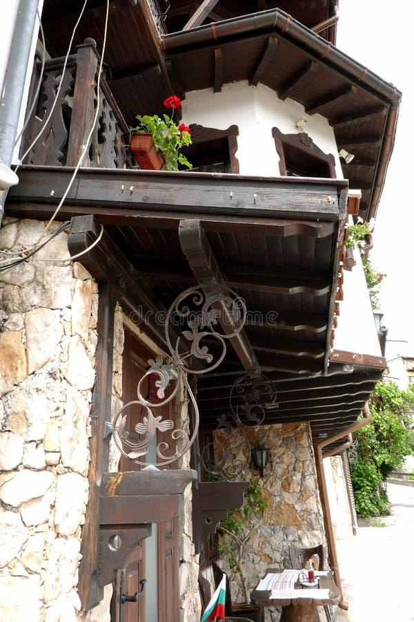 BULGARIA, VELIKO TARNOVO-19 MAY, 2019:Traditional Bulgarian houses in General Gurko Street in the city of Veliko Tarnovo royalty free stock photo