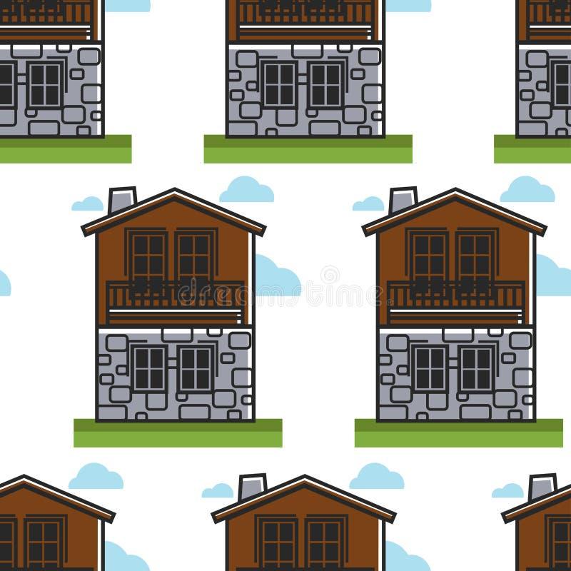 Bulgarian architecture seamless pattern house or dwelling travel to Bulgaria. House or dwelling Bulgarian architecture seamless pattern travel to Bulgaria vector stock illustration