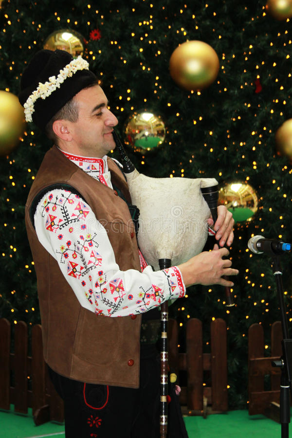 Download Bulgarian bagpiper editorial stock photo. Image of lights - 28341983