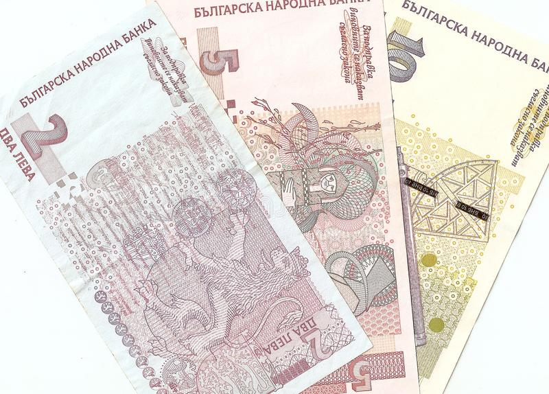 Bulgarian banknotes - 2, 5, 10 Bulgarian leva royalty free stock photos