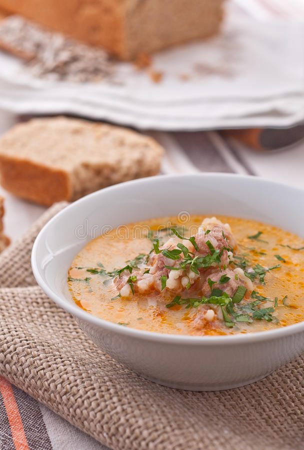 Bulgarian beef soup with meatballs royalty free stock images