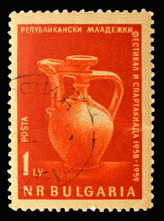 Bulgarian Ceramic Jug, 7th International Youth Festival, Vienna serie, circa 1959. MOSCOW, RUSSIA - SEPTEMBER 15, 2018: A stamp printed in Bulgaria shows stock image
