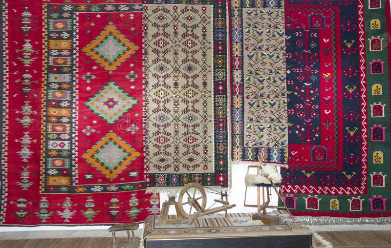 Bulgarian colorful wool carpets in the Chiprovtsi museum, Bulgar royalty free stock images