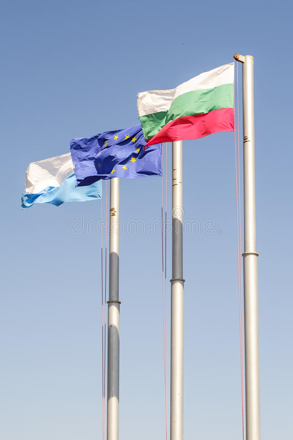 Bulgarian and Europe flags Vertical 1 royalty free stock image