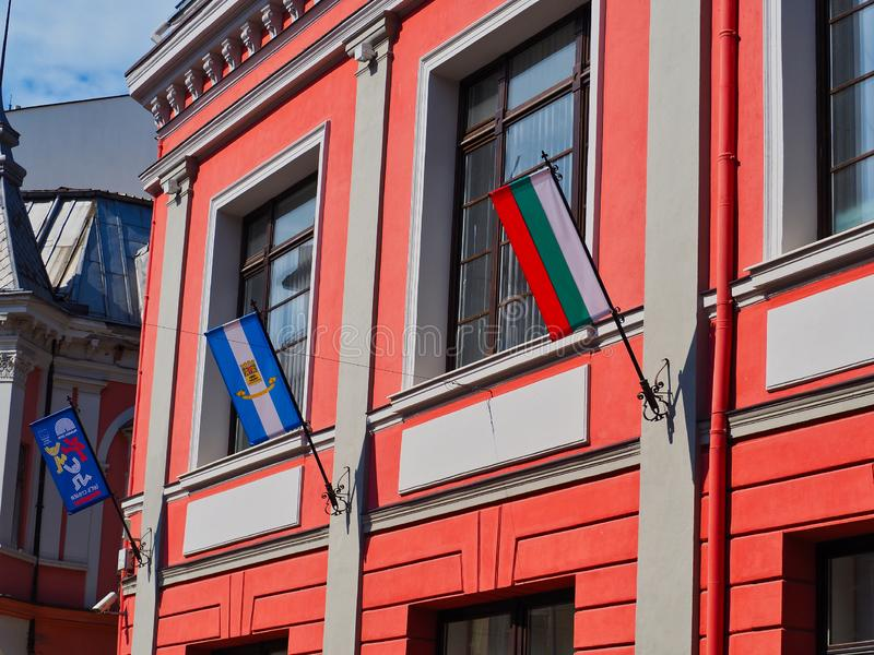 Bulgarian Flag on Historic Plovdiv Building, Bulgaria. The Bulgarian tricolour red green and white National Flag flying from an historic building in Plovdiv Old stock photo