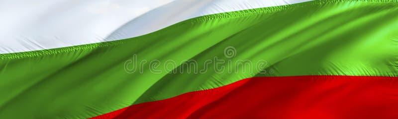 bulgarian flagga bulgaria flagga vinkande design för flagga 3D, tolkning 3D Det nationella symbolet av Bulgarienbakgrundstapeten  arkivbilder