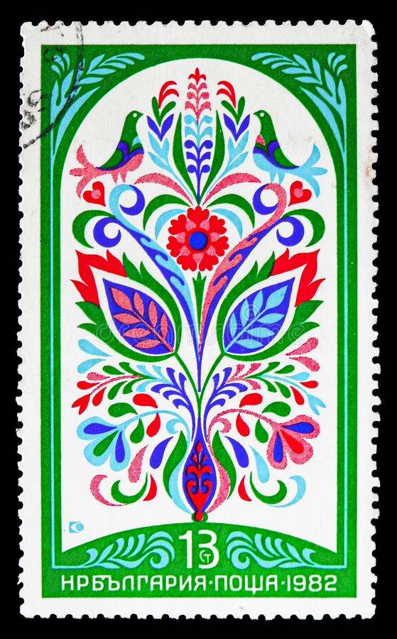 Bulgarian Fresco of XIX c. Flowers, Wall decorative ornaments from Bulgarian Renaissance houses serie, circa 1982 royalty free stock images
