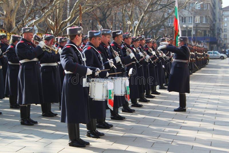 Bulgarian guard regiment. Salutes a new ambassador to Bulgaria, Sofia, 5. 03. 2013 royalty free stock images
