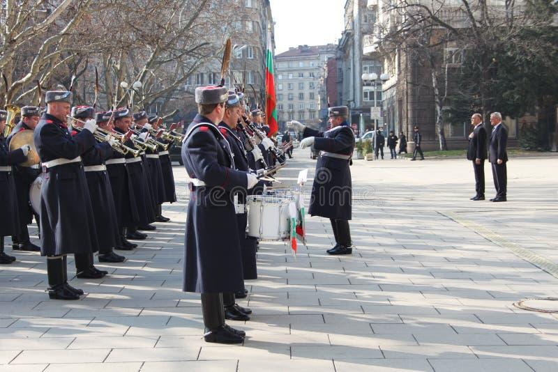 Bulgarian guard regiment. Salutes a new ambassador to Bulgaria, Sofia, 5. 03. 2013 stock photos