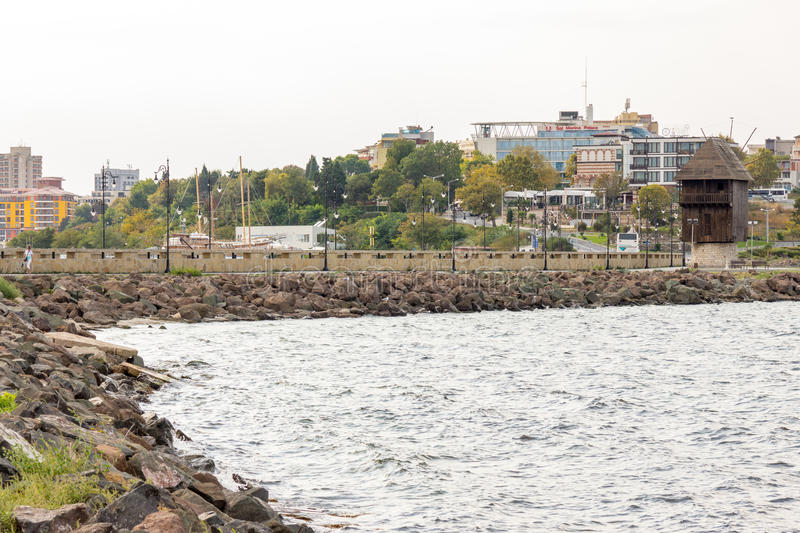 Bulgarian Nessebar from the sea royalty free stock image
