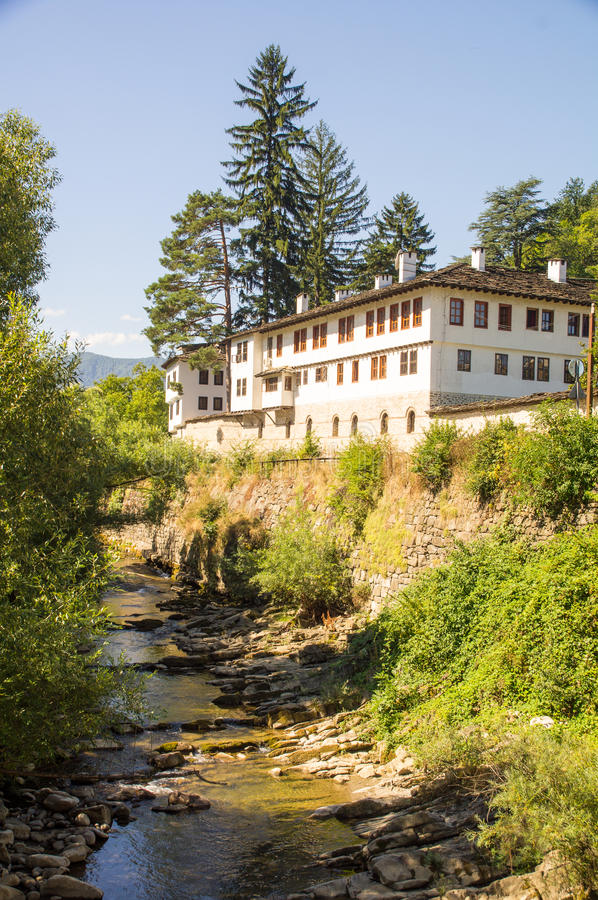 Bulgarian old Troyan Monastery on the bank of the river Cherni Osam royalty free stock photos