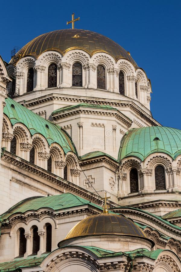 Bulgarian Orthodox cathedral dedicated to Saint Alexander Nevsky, in Sofia royalty free stock photography
